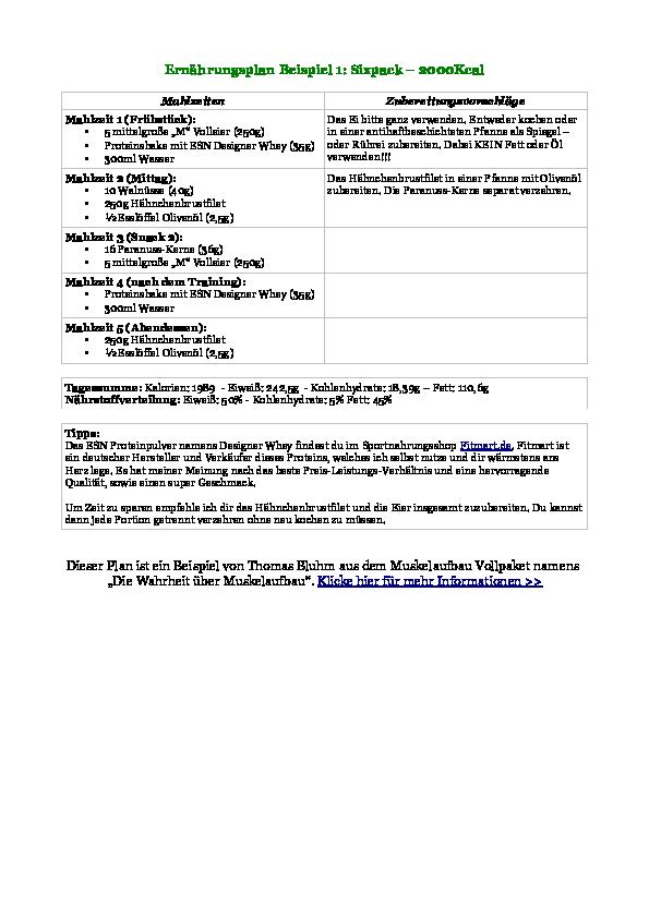 Ernährungsplan muskelaufbau pdf