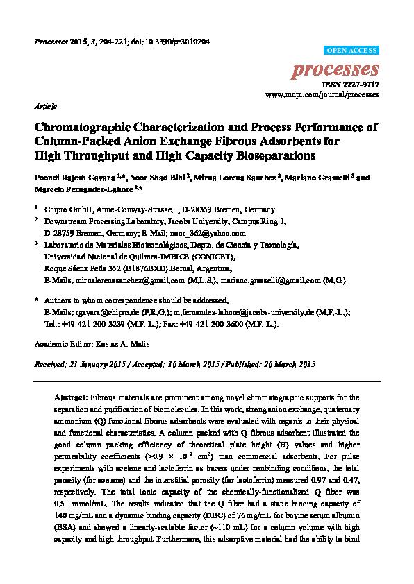 PDF) Chromatographic Characterization and Process