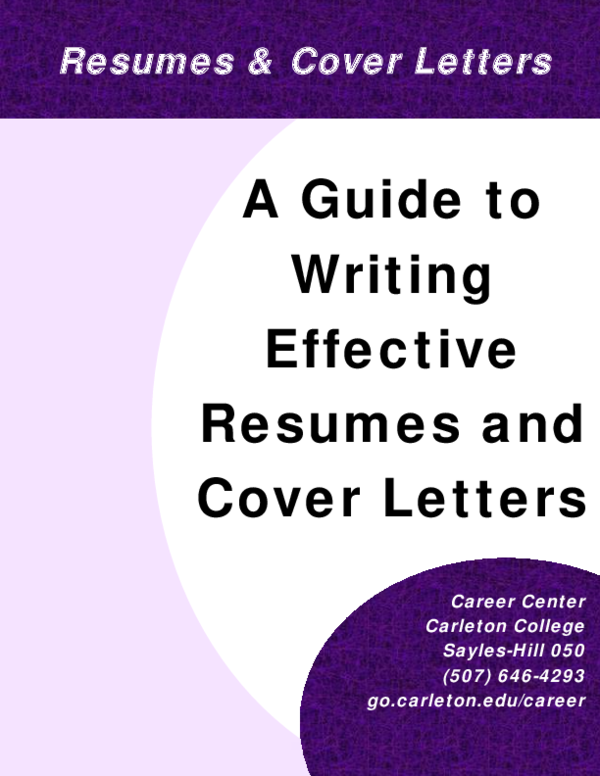 PDF) A Guide to Writing Effective Resumes and Cover Letters ...