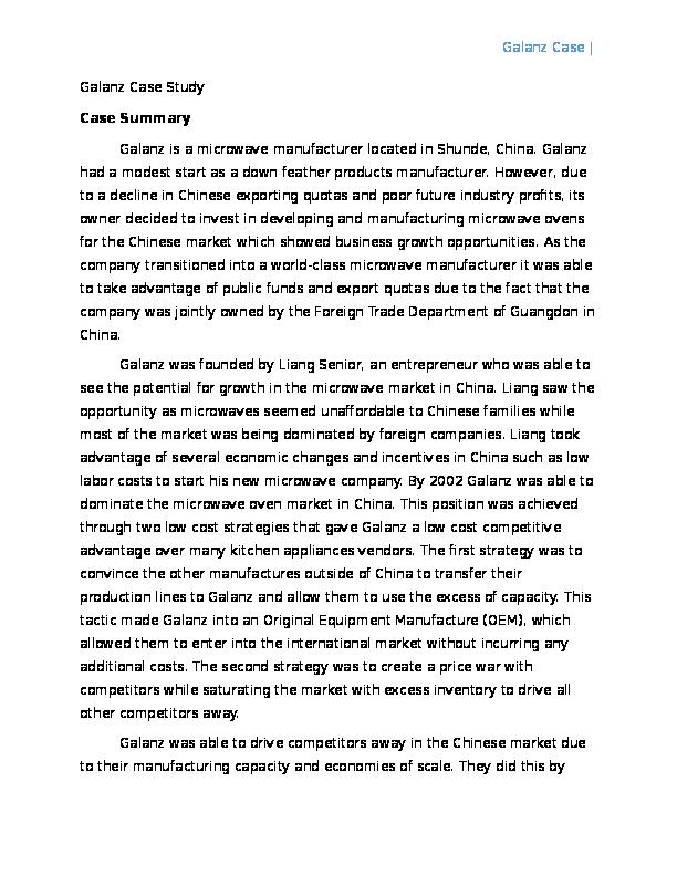 galanz case solution