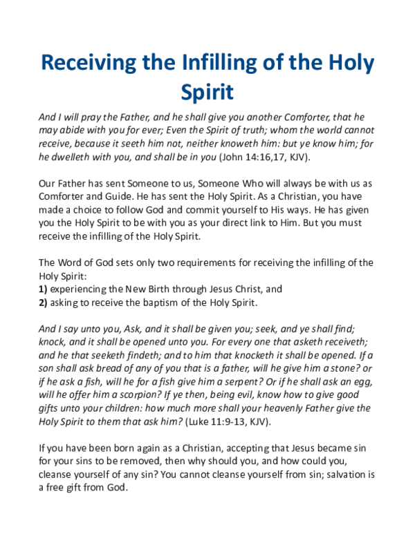 PDF) Receiving the Infilling of the Holy Spirit | Pastor