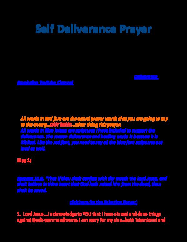 PDF) Self Deliverance Prayer - Detailed Version | Pastor Nate
