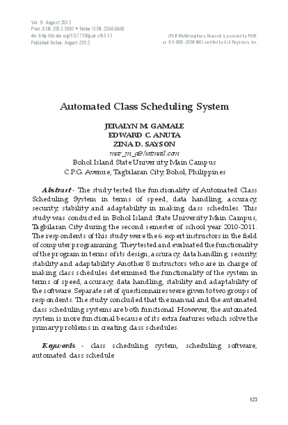 Automated class scheduling system thesis cbse sample papers for class 9 science term 2