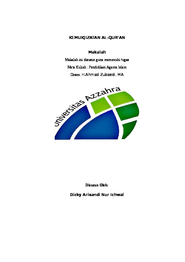 Doc Makalah Mukjizat Al Quran Docx Dicky Arisandi Academia Edu