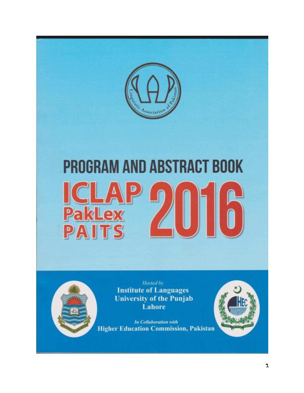 PDF) Book Abstract -ICLAP 2016 | Maria Isabel Maldonado