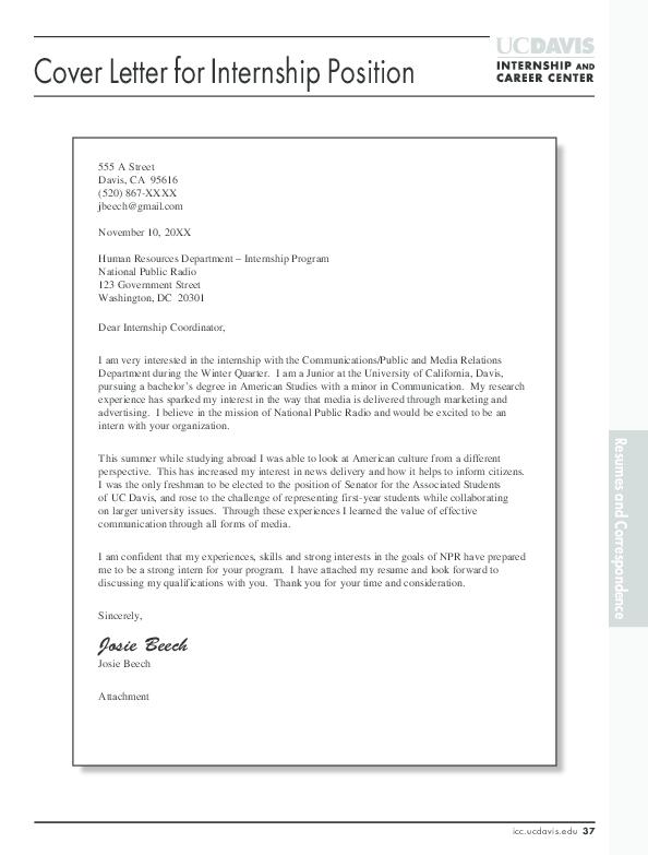 PDF Cover Letter For Internship Position