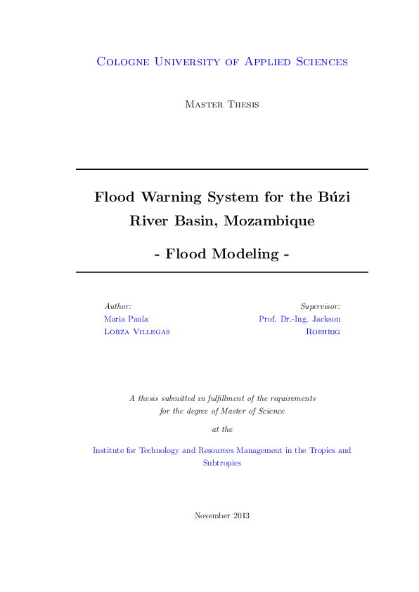 Flood Warning System for the Búzi River Basin, Mozambique