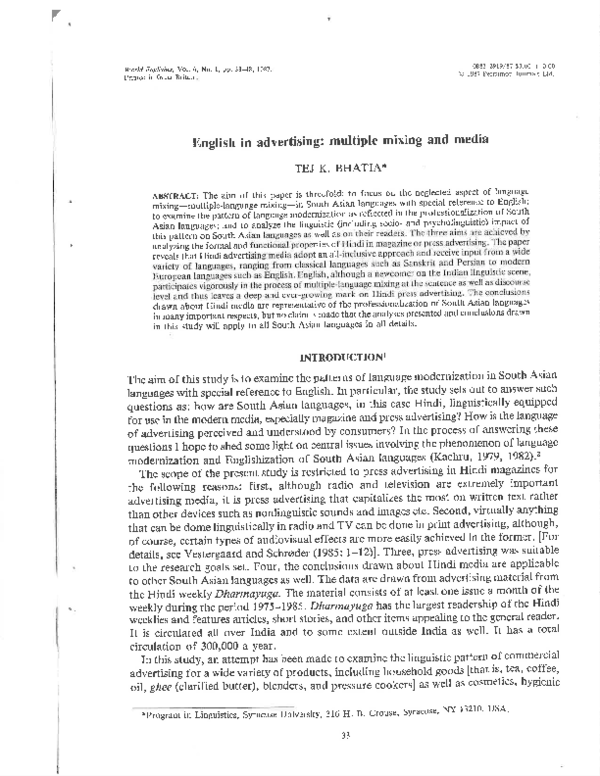 PDF) English in advertising: multiple mixing and media | Tej