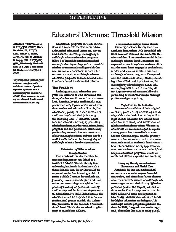The Educators Dilemma When And How >> Educators Dilemma Three Fold Mission Jeffrey Legg Academia Edu