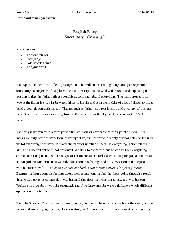 english essay crossing  sinne myrup  academiaedu docx