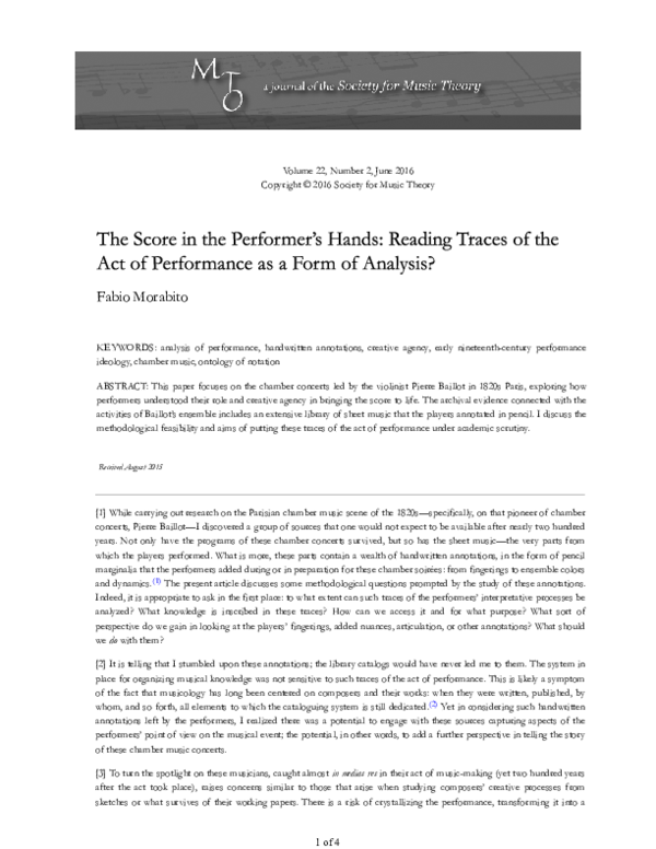 PDF) The Score in the Performers' Hands: Reading Traces of
