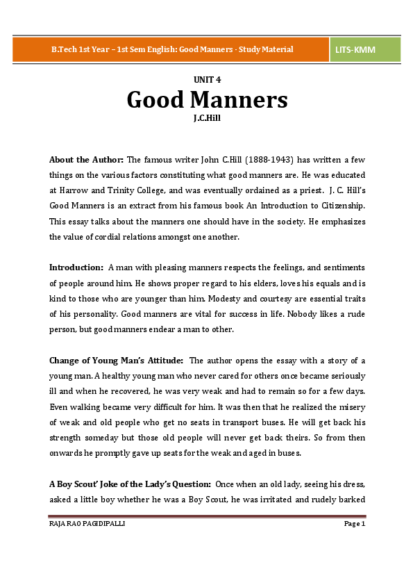 Manners essay