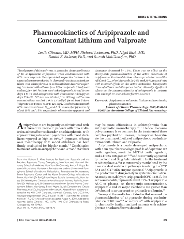 PDF) Pharmacokinetics of Aripiprazole and Concomitant