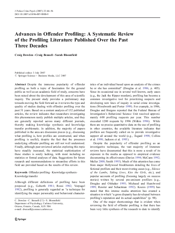 PDF) Advances in Offender Profiling: A Systematic Review of