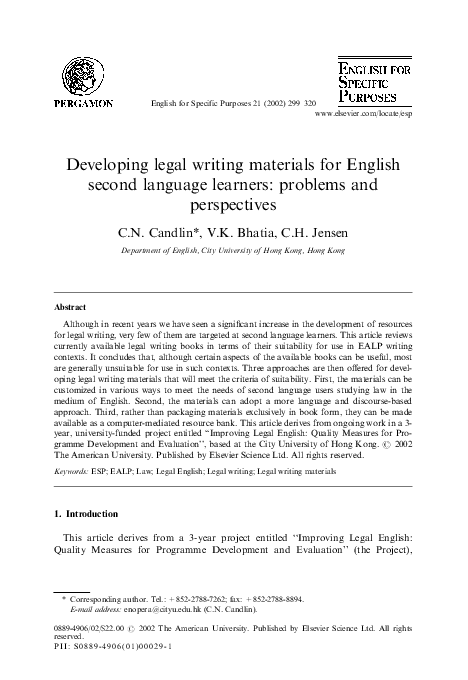 Pdf Developing Legal Writing Materials For English Second