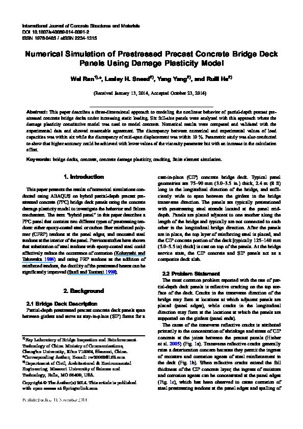 PDF) Numerical Simulation of Prestressed Precast Concrete Bridge