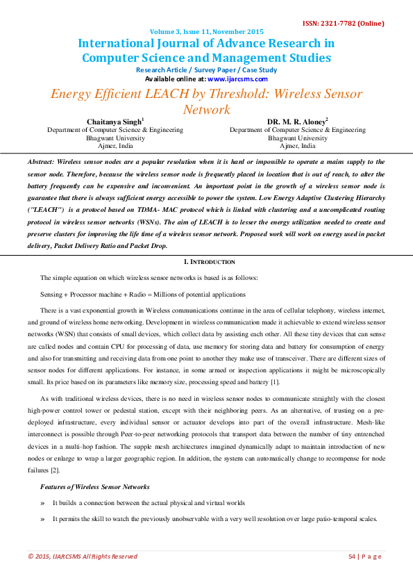 PDF) Energy Efficient LEACH by Threshold: Wireless Sensor Network