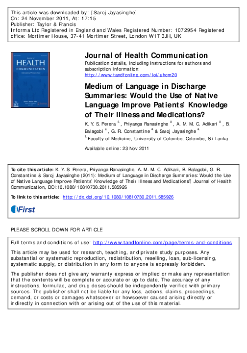 PDF) Medium of Language in Discharge Summaries: Would the