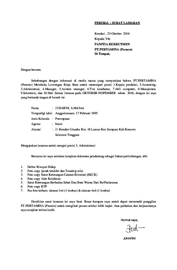 Pdf Contoh Surat Lamaran Kerja Hanni Juharny Academiaedu