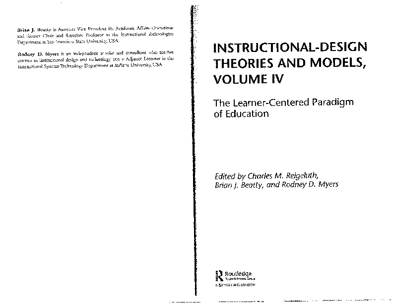 Pdf Instructional Design Theories And Models Vol Iv The Learner Centered Paradigm Of Education Preface Unit Forewords 171 Charles Reigeluth And Rodney Myers Academia Edu