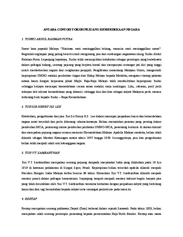 Doc Antara Contoh Tokoh Pejuang Kemerdekaan Negara Permatahijau Siti Hazalina Academia Edu