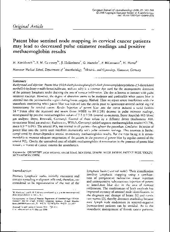 PDF) Patent blue sentinel node mapping in cervical cancer patients