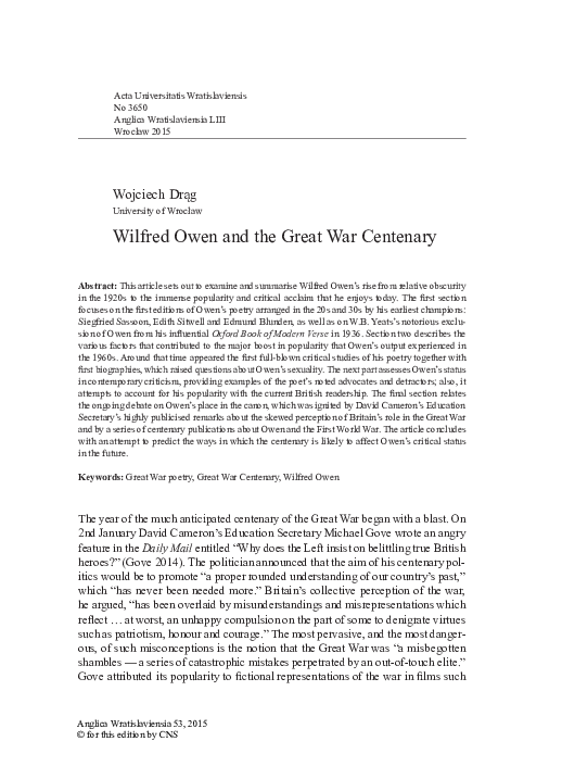 Pdf Wilfred Owen And The Great War Centenary Wojciech