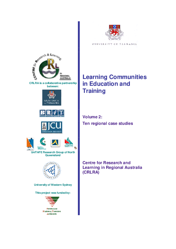 PDF) Learning Communities in Education and Training Volume 2: Ten