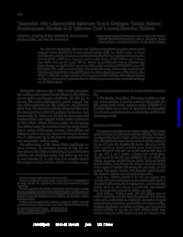 Haemophilus influenzae type b (hib) conjugate vaccines