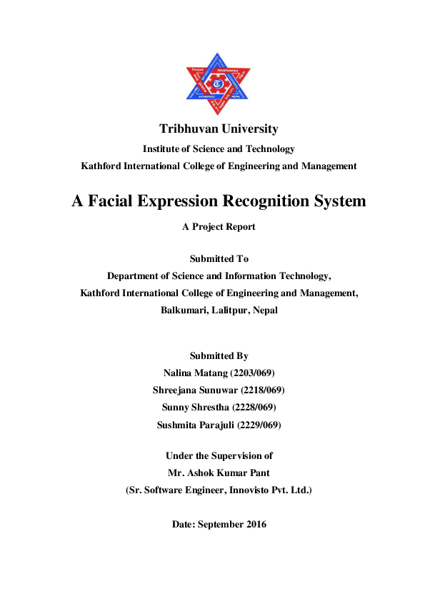 PDF) A Facial Expression Recognition System A Project Report