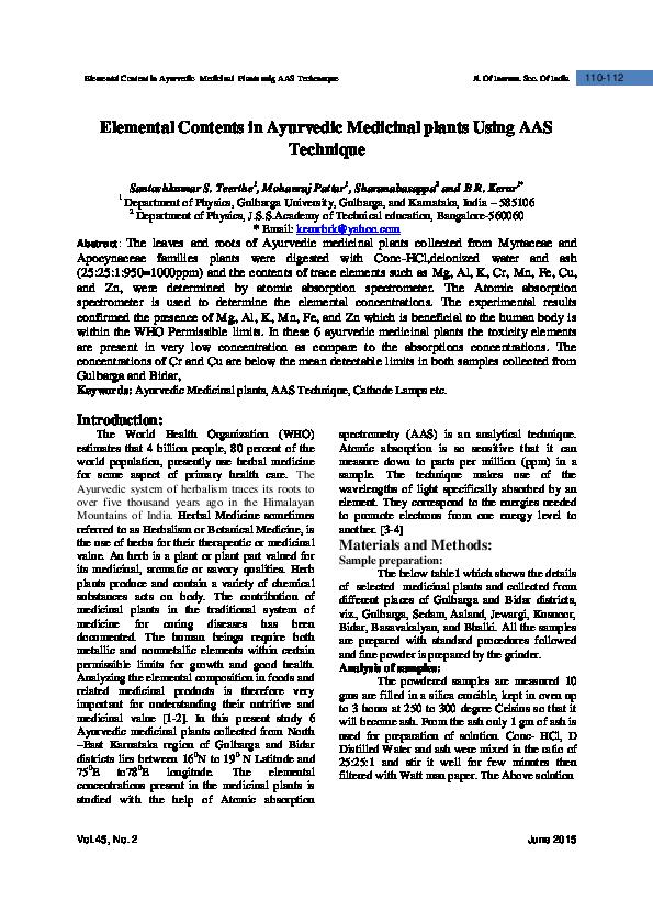 PDF) Elemental Contents in Ayurvedic Medicinal plants Using AAS