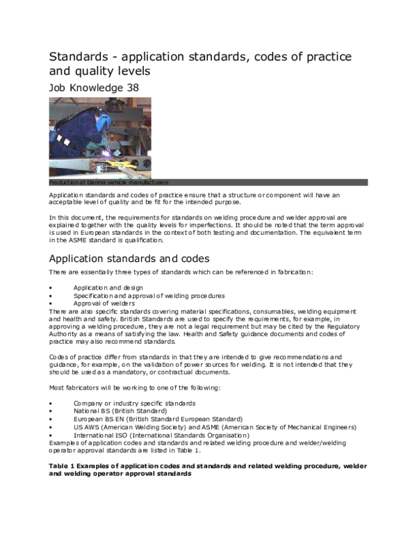 DOC) Standards -application standards, codes of practice and quality