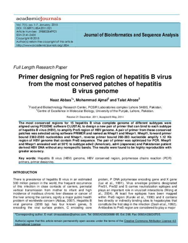 PDF) Journal of Bioinformatics and Sequence Analysis Primer
