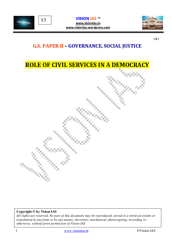 PDF) ROLE OF CIVIL SERVICES IN A DEMOCRACY VISION IAS
