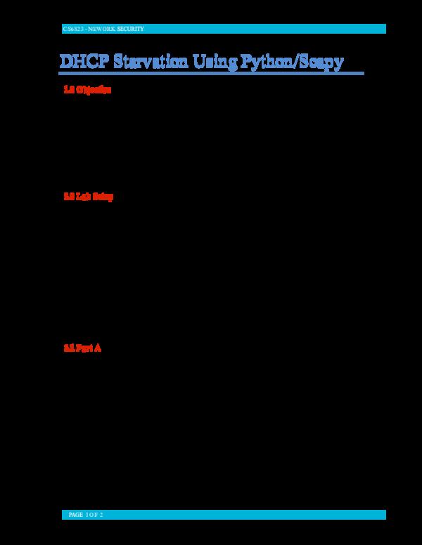 PDF) CS6823 -NEWORK 1 OF 2 DHCP Starvation Using Python
