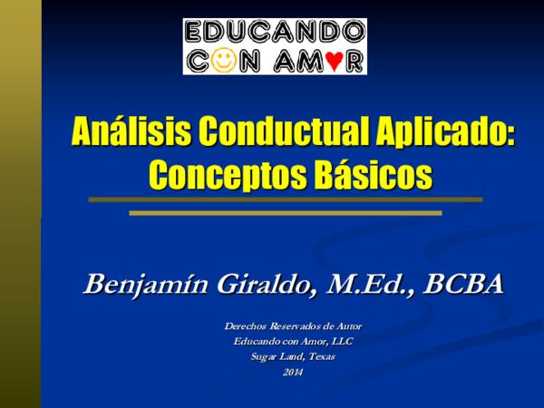 Pdf Análisis Conductual Aplicado Conceptos Básicos