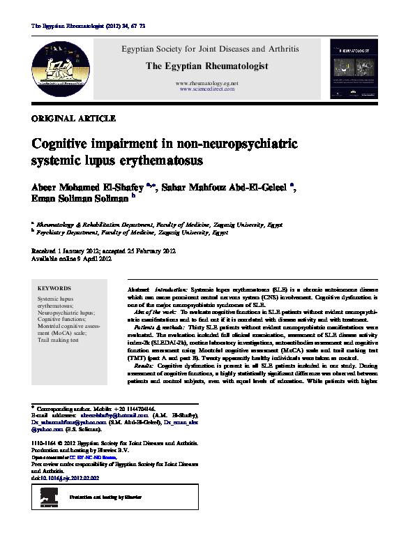 PDF) Cognitive impairment in non-neuropsychiatric systemic lupus
