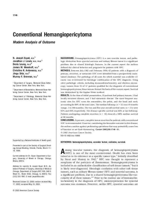 PDF) Conventional Hemangiopericytoma: Modern Analysis of