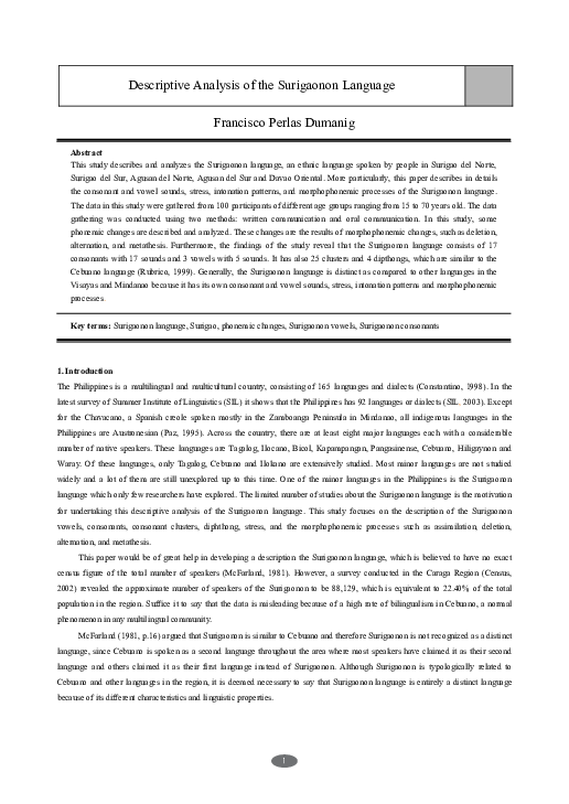 PDF) A Descriptive Analysis of Surigaonon Language | Francisco P