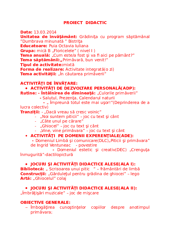Doc Proiect Didactic Puia Octavia Iuliana Academiaedu