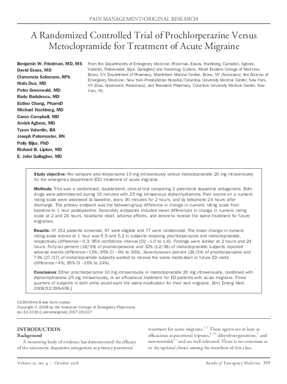 PDF) A Randomized Controlled Trial of Prochlorperazine Versus