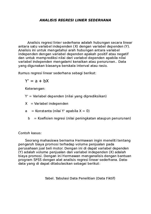 Doc Analisis Regresi Linier Sederhana Lulu Indriaty Academia Edu