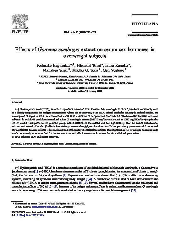 garcinia cambogia research papers pdf