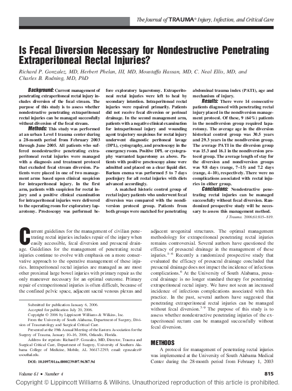 PDF) Is Fecal Diversion Necessary for Nondestructive