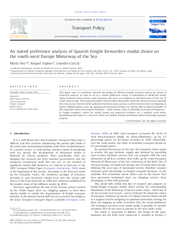PDF) An stated preference analysis of Spanish freight