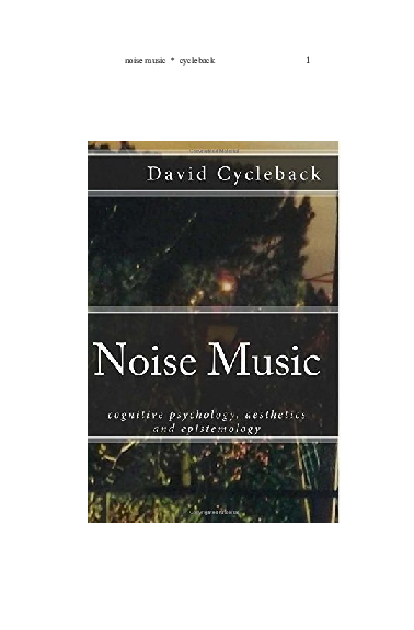 PDF) Noise Music: Cognitive Psychology, Aesthetics and