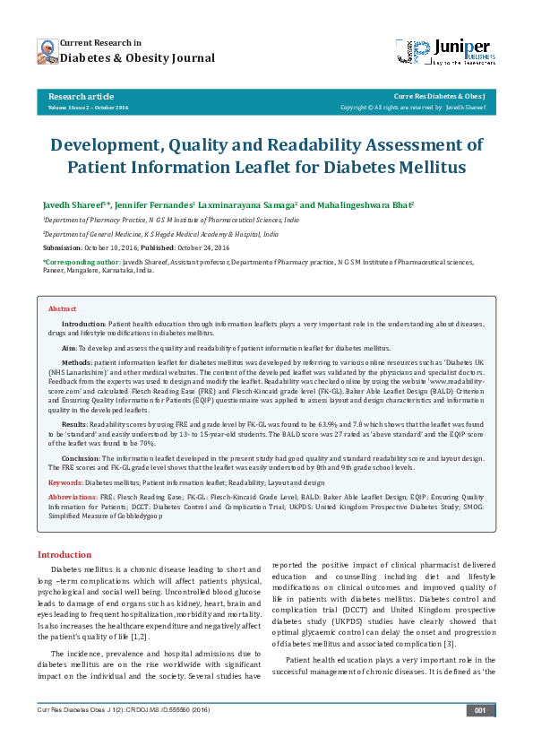 Pdf Diabetes Obesity Journal Development Quality And Readability Assessment Of Patient Information Leaflet For Diabetes Mellitus Victoria Gray Academia Edu