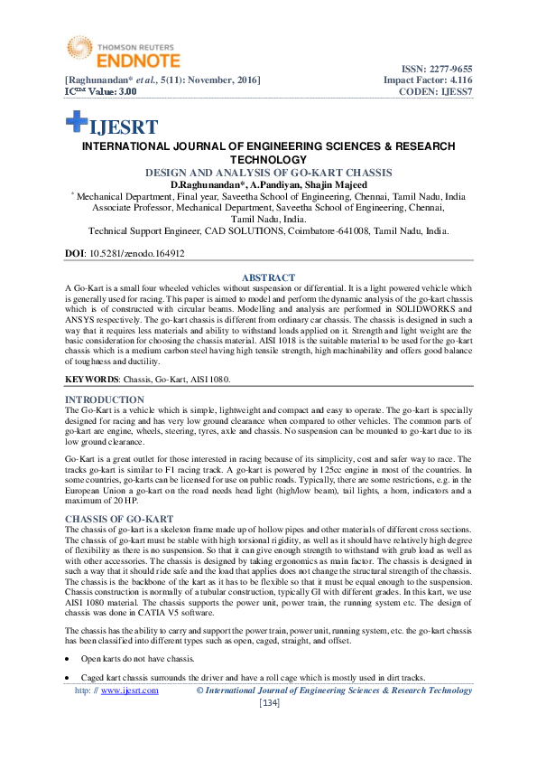 PDF) DESIGN AND ANALYSIS OF GO-KART CHASSIS | IJESRT Journal