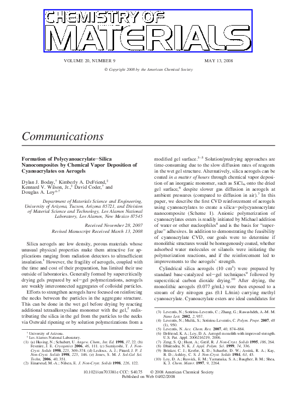 PDF) Formation of Polycyanoacrylate−Silica Nanocomposites