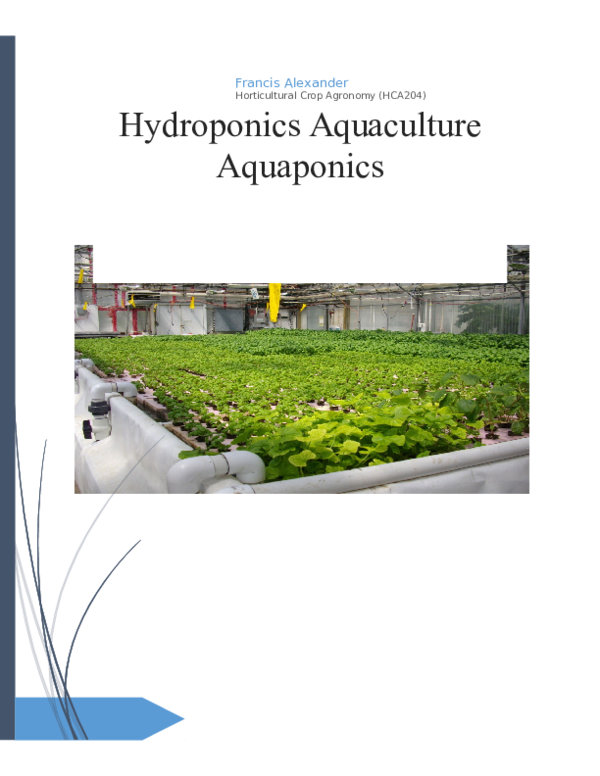 DOC) Project base on hydroponics, aquapomics and aquaculture docx